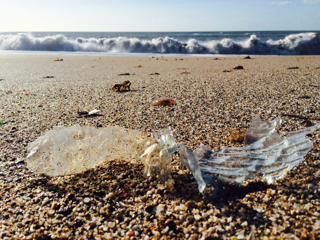 plastic bottle on beach