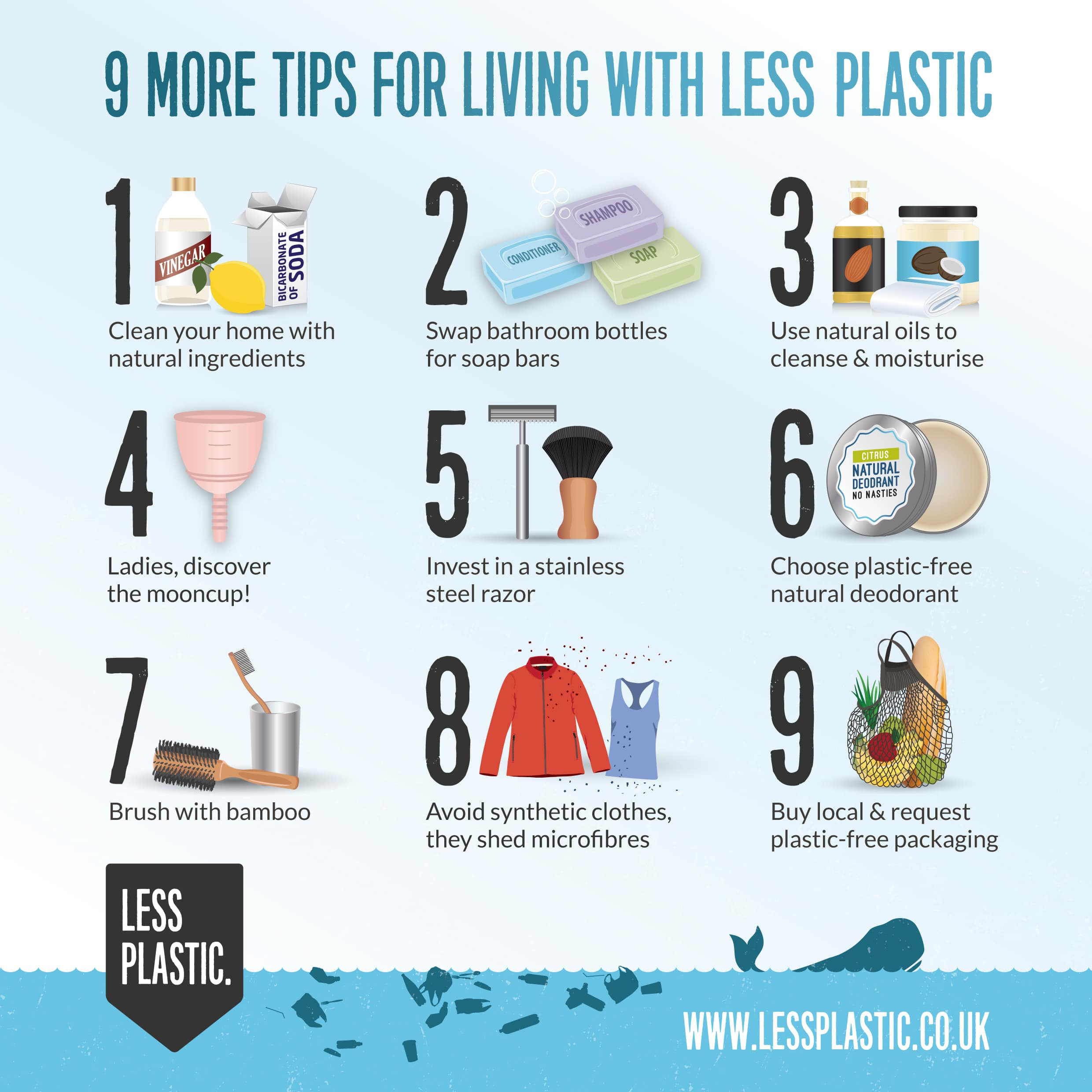 9 more tips for living with less plastic infographic