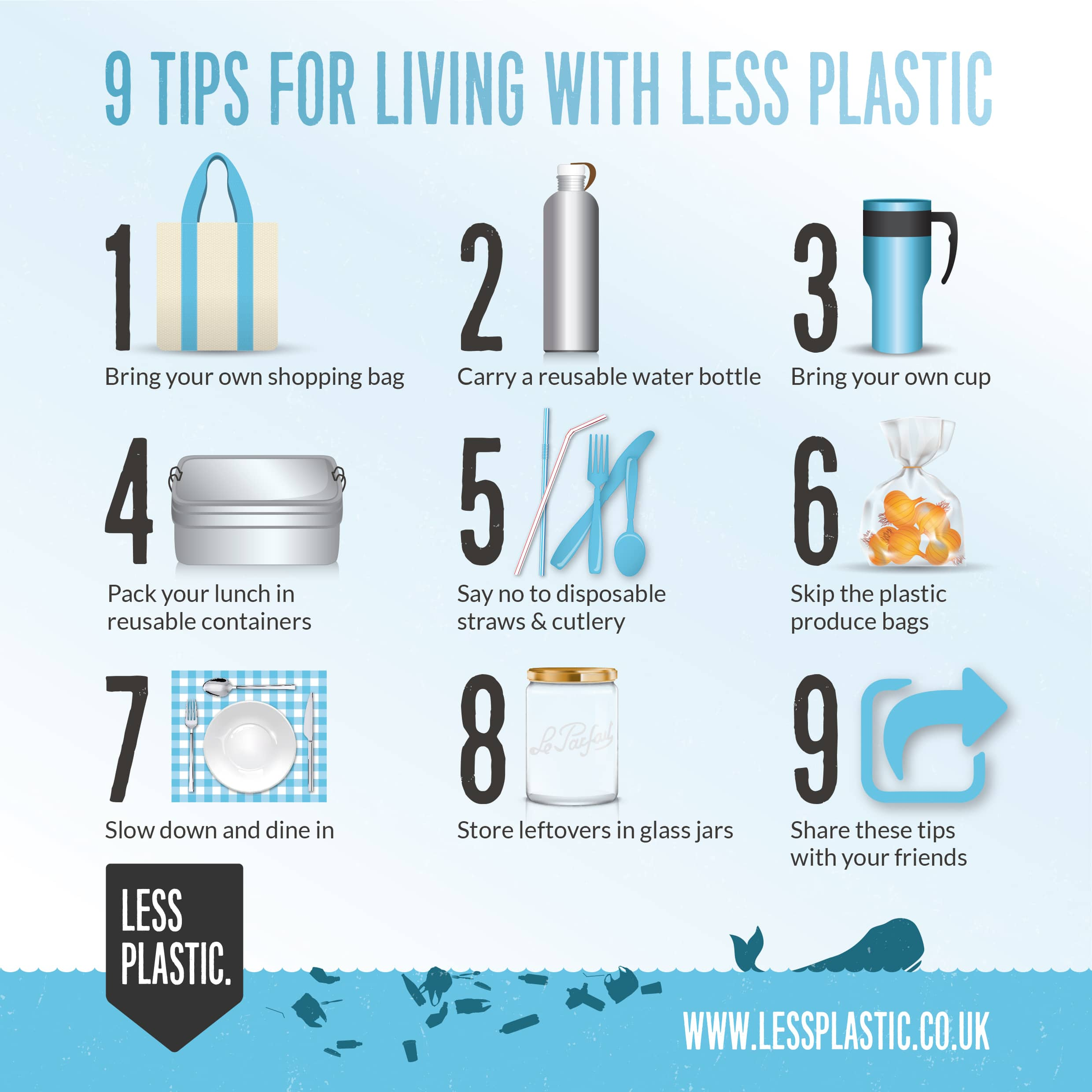 9 tips for living with less plastic infographic