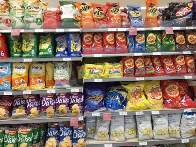 crisps plastic packaging at the supermarket