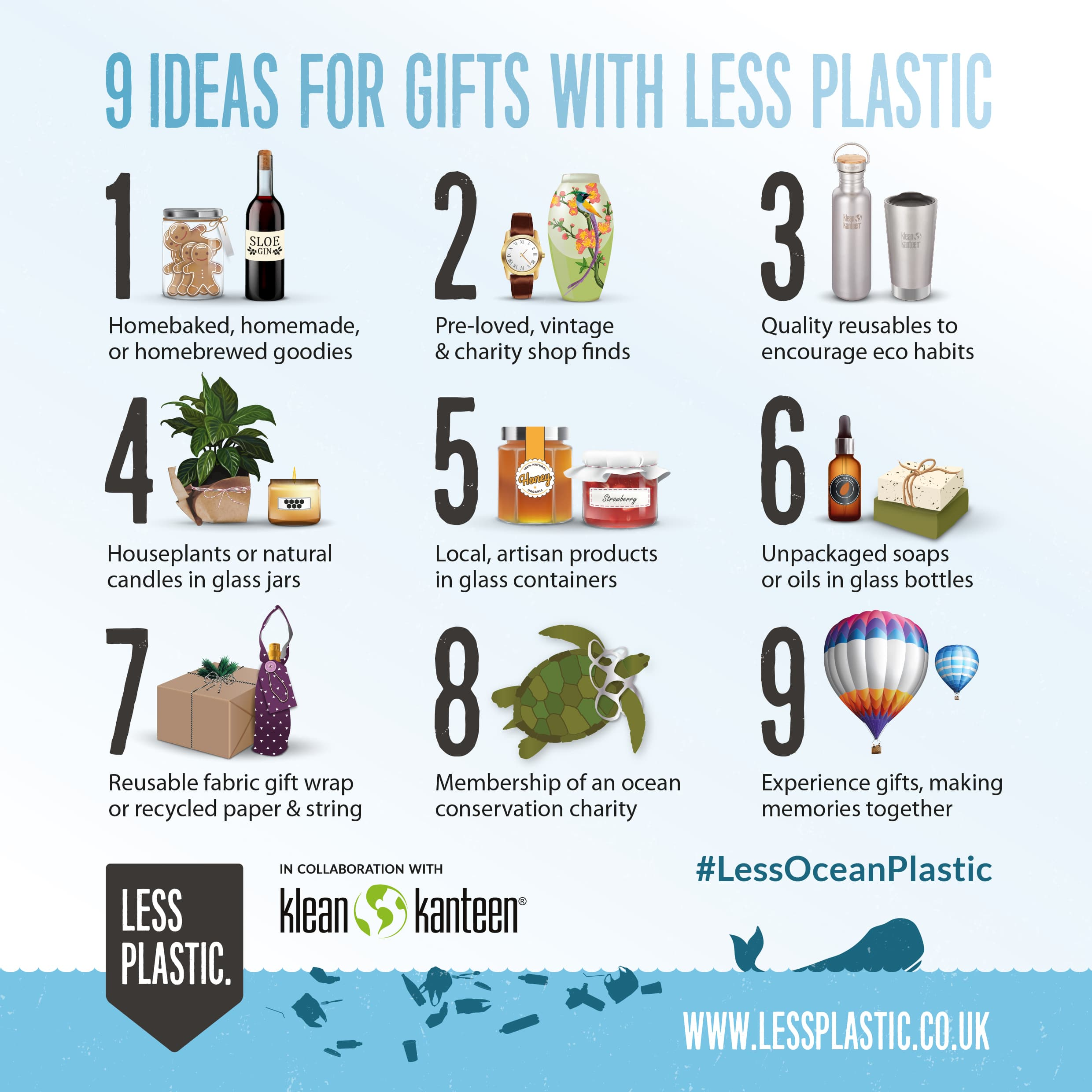 9 ideas for gifts with less plastic infographic